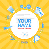 Social network web designer avatar. Place for your name. Template of the portfolio, banners, announcements, web sites Stock Photo