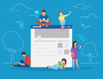 Social network web site surfing concept illustration Stock Photos