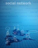 Social network whit business people. Blue background Royalty Free Stock Photos