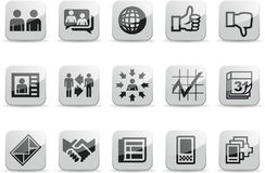 Social Network White Glossy icons set 2. Set of 15 Social Communication Network Black and White Glossy Icons Stock Images