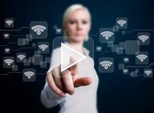 Social network Wifi business button play. Icon Stock Photos