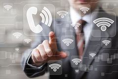 Social network Wifi businessman presses web button sign telephone Stock Photo