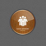 Social network wood application icons Stock Photo