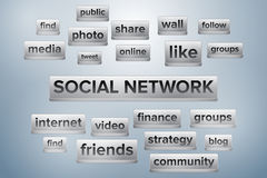 Social network word cloud shaped like keyboard buttons Stock Photos
