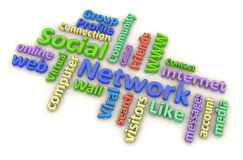 Social Network Word Cloud Stock Photos