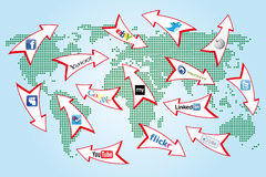 Social network world map Royalty Free Stock Photography