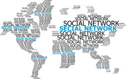 Social Network on the World Map Globe Vector Line Illustrator Royalty Free Stock Photo