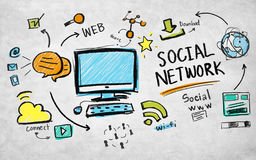 Social network www download web online concept Royalty Free Stock Photography