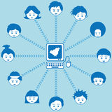 Social networking. With computer and kids faces Royalty Free Stock Images