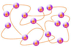 Social  networking. Concept, people connected by a network, image isolated on a white background Stock Images