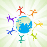 Social networking. Illustration of social networking with globe and peoples Royalty Free Stock Image