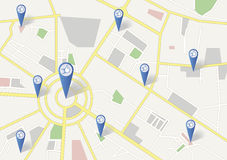 Social Networking. A GPS city Map Showing Social Networking with the markers and Like symbol Stock Photo