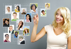 Social networking. Young woman with social network of friends Royalty Free Stock Photos