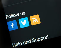 Social networking applications on Apple iPad Air display Royalty Free Stock Images