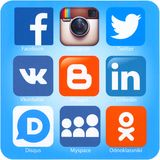 Social networking applications on Apple iPad Air Stock Image