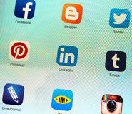 Social networking applications on Apple iPad retina display Stock Images