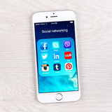 Social networking applications on an iPhone 6 display Royalty Free Stock Photos