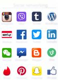 Social networking apps icons printed on paper royalty free stock images