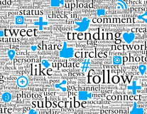 Social Networking Background. A Background image of a series of popular social network keywords, phrases and icons in a tag cloud arrangment