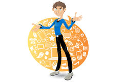 Social Networking Boy. An illustration of smart, Social networking media Boy with a speech bubble, containing icons of social media such as twitter, facebook Royalty Free Stock Image