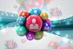 Social networking bubbles. In color background Stock Photography