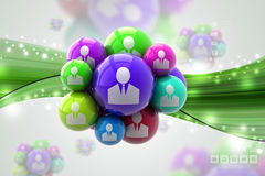Social networking bubbles. In color background Stock Images