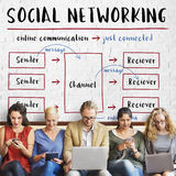 Social Networking Channel Diagram Graphic Concept Stock Photos