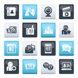 Social networking and communication icons over color background. Vector icon set stock illustration