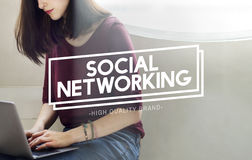 Social Networking Communication Online Concept. People Using Social Networking Communication Online Royalty Free Stock Photography