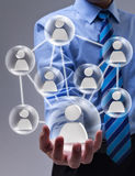 Social networking concept with connected glass speheres Stock Photos