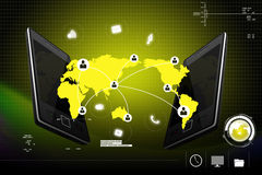 Social networking in  digital tablet. In attractive background Stock Photography