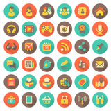 Social Networking Flat Round Icons with Long Shadows. Set of 36 flat round web icons of social networking and multimedia in retro colors with long shadows Royalty Free Stock Images