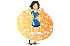 Social networking girl browsing sites. Illustration of a social networking girl wearing blue dress browsing sites online with information technology Royalty Free Stock Photos