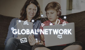 Social Networking Global Communications Technology Connection Co. Mother Son Social Networking Global Communications Concept stock photo