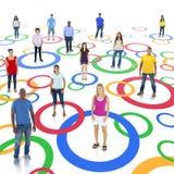 Social Networking Group. Group social networking with circles stock photos