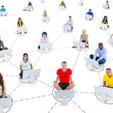Social networking. Group of teens social networking royalty free stock photography