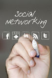 Social networking. A hand drawing the social networking platforms logos royalty free stock photo
