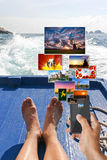 Social networking on holiday Royalty Free Stock Photo