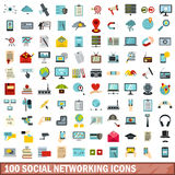 100 social networking icons set, flat style. 100 social networking icons set in flat style for any design vector illustration vector illustration