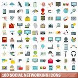 100 Social Networking-Ikonen eingestellt, flache Art Stockfoto