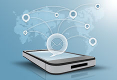 Social networking internet all over the world. Stock Photo