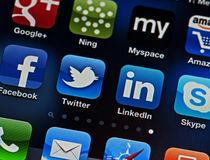 Social Networking on the iPhone Stock Image
