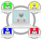 Social Networking on Laptop Computers. A social network grid of white laptop computers royalty free illustration