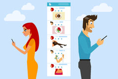 Social networking. Man and woman are texting and sending photos to each other in social networks Stock Image