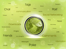 Social networking map diagram. Social networking map diagram with shiny globe and networking icon.Vector Eps 10 Royalty Free Illustration