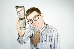 Social networking nerd taking self portrait Royalty Free Stock Photos