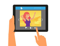 Social networking with a picture of redhair woman Stock Image
