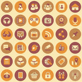 Social Networking Round Icons Set. Set of 36 round flat web icons of social networking and multimedia  in retro colors Royalty Free Stock Images
