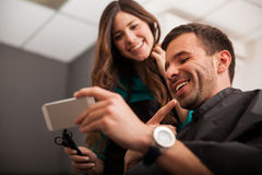 Social networking in a salon Stock Image