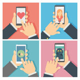Social networking set. Hands holding tablet with like button and liking photos Stock Image